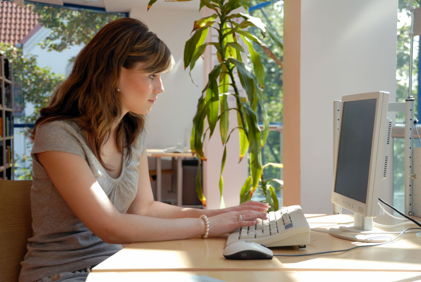 women work at home office